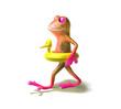 Leinwanddruck Bild grenouille va nager avec une bouée canard