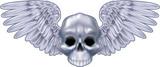 winged metallic skull motif poster