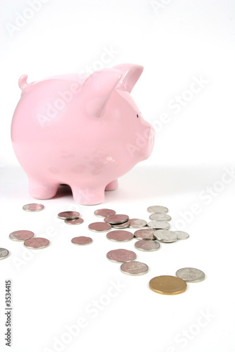 pink piggy bank on white with coins