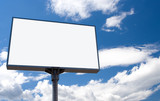 white bill board advertisement under sky with clouds poster