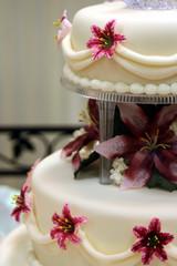 Pink Lily Wedding Cake