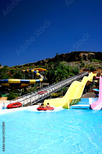 Big slide fun at waterpark