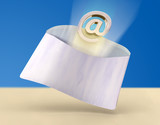 Email flying out from a mail envelope. Digital illustration. poster