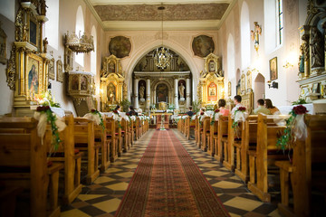before the wedding ceremony - inside church