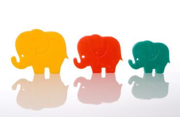 elephant family isolated over white background