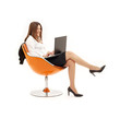 businesswoman with laptop in orange chair over white