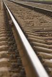 suburban railway, rail close up poster