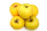 heap of five yellow apples poster