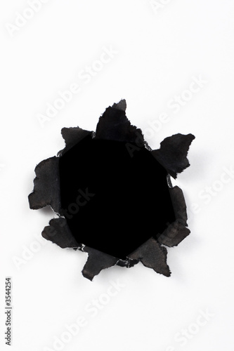 poster of black hole in white paper with black ragged edges