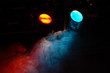 red and blue theater lights with smoke