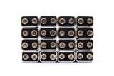 16 nine volt batteries forming a rectangular poster