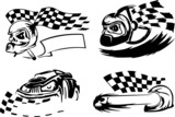 Template Racing Symbols - Skulls and Racing Checkers Flags. poster
