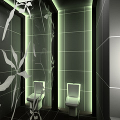 Modern interior. 3D render. Toilet. Exclusive design.
