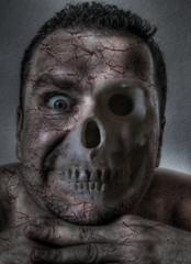 Macabre face,half flesh half bones - digital illustration