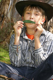 Eco-Music - A boy in untainted countryside playing a gum leaf poster