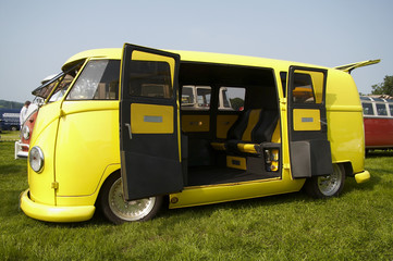 Yellow vw camper