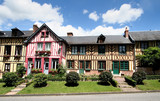 Colourful Timber Framed Village Houses in Normandy, France poster