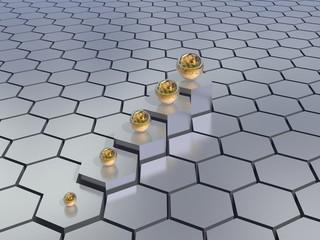 hexagons background with progress diagram