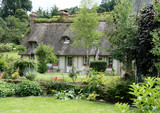 Timber Framed Thatched Normandy House and Cottage Garden poster