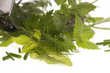 fresh herbs and mezzaluna. isolated on the white background poster