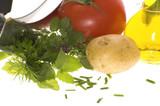 fresh herbs, vegetables, salt and mezzaluna poster