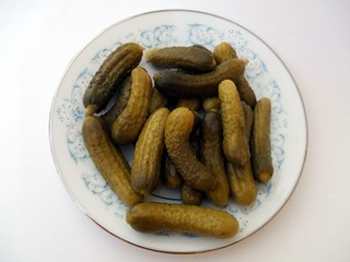 Pickles. Cornichons. Gherkins. Preservatives. Appetizer