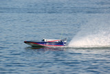 speed boat model sail to the left with swirl poster
