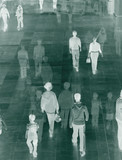 Surreal image of people in shopping mall. poster