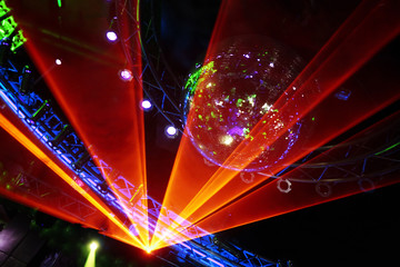 Fantastic Orange Laser Show at the Disco