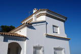 white living house in southern europe poster