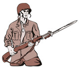 Soldier with a rifle on fixed bayonet poster