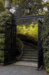 Iron Gates at an Estate on the Hudson with stairway