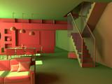 modern acid interior design (private apartment 3d rendering). poster