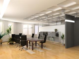 the modern office interior design (3d render).