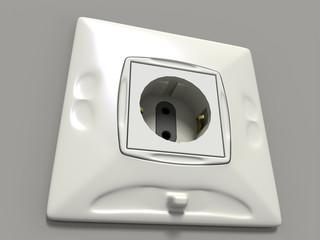 white electrosocket (3D generated image)