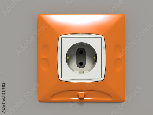 orange electrosocket (3D generated image)
