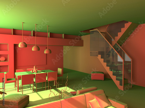 poster of modern acid interior design (private apartment 3d rendering).