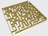 The gold labyrinth with reflection. 3D image. poster
