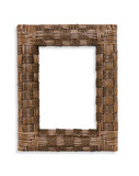 A woven photo frame over a white background poster