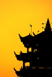 pagoda sunset silhoutte, asia concept poster