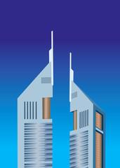 Illustration of Emirates towers on sheikh zayed road