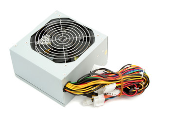 Computer power supply with fan and wires