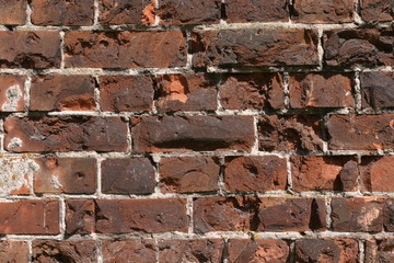Obsolete brick wall as textured background