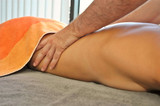 Massage treatment in spa center. poster