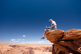 Fotoroleta USA. Arizona. Page. Horseshoe Bend. Man with notebook