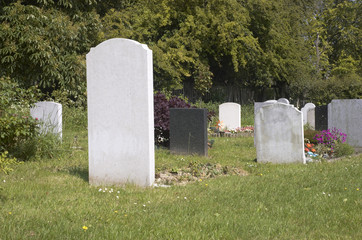 Gravestones in a grave yard in England