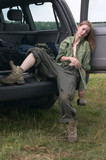 hunter girl sleeping in  off-road car poster