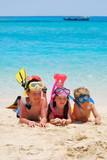 Fototapety happy snorkelers