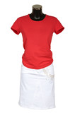 Red vest and skirt on a white background poster