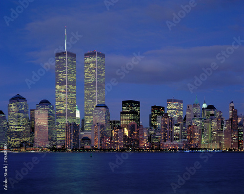 New-York city and World Center at night from Hudson river - 3568083